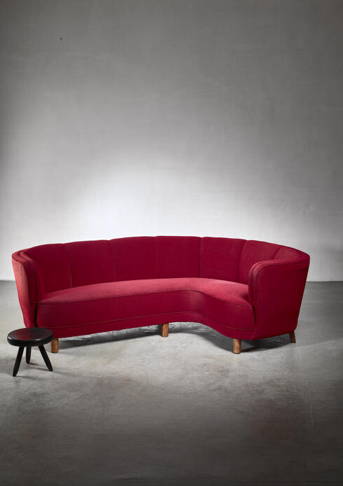 Bloomberry - Dark red large Danish corner sofa, 1930s