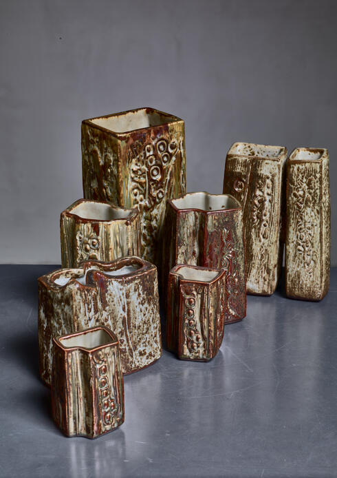 Bloomberry - Set of seven ceramic Jorgen Mogensen vases, Denmark, 1970s