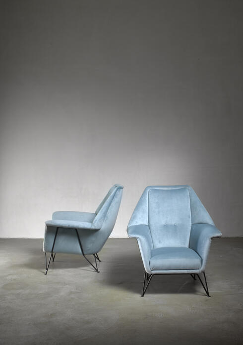 Bloomberry - Pair of I.S.A. Bergamo lounge chairs, Italy, 1950s