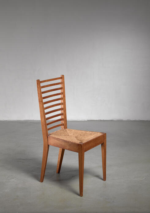 Bloomberry - Luigi Caccia Dominioni wood side chair, Italy, 1950s