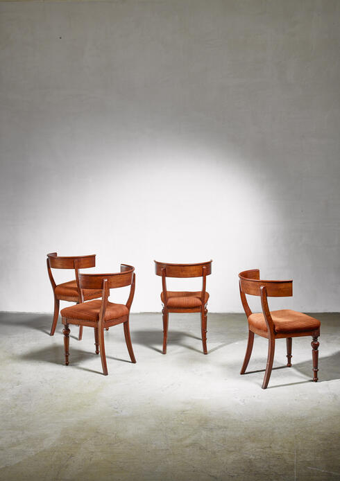 Bloomberry - Set of four Danish Klismos chairs, late 19th century