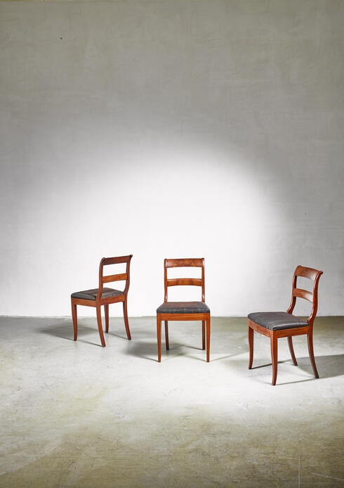 Bloomberry - Set of 3 Karl Johan style sidechairs with horsehair seat, Sweden, 19th century