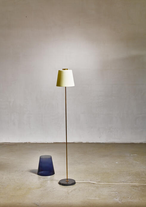 Bloomberry - Yki Nummi floor lamp with two layered shade for Orno, Finland, 1960s
