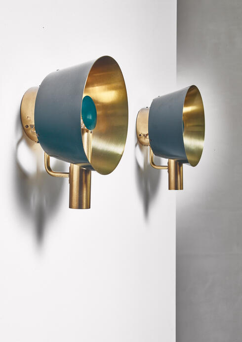 Bloomberry - Pair of brass Lyfa wall lamps, Denmark, 1960s