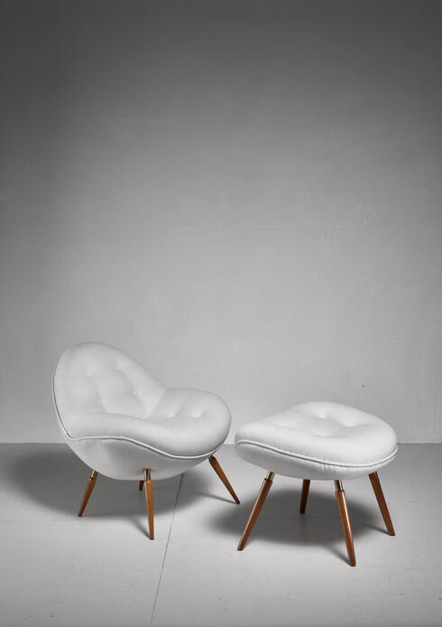 Bloomberry - Fritz Neth 'Schalensessel' lounge chair with hocker, Germany