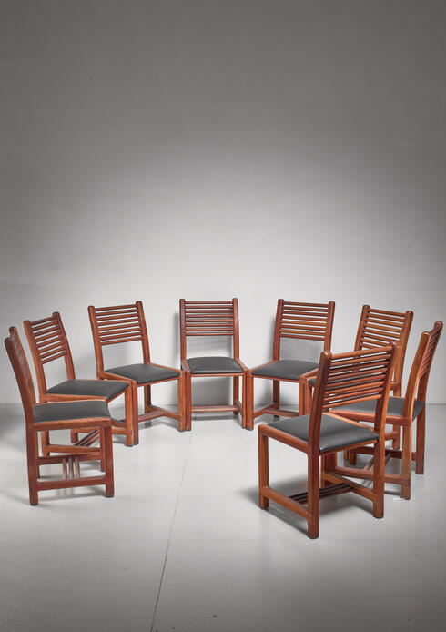 Bloomberry - Lambrecht Studio Set of Eight Teak and Leather Dining Chairs, USA, 1950s