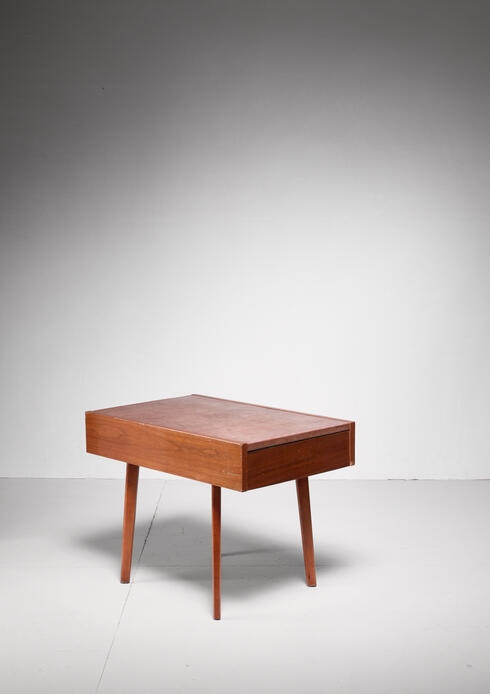 Bloomberry - Nelson Leather Top End Table with Drawer for Herman Miller