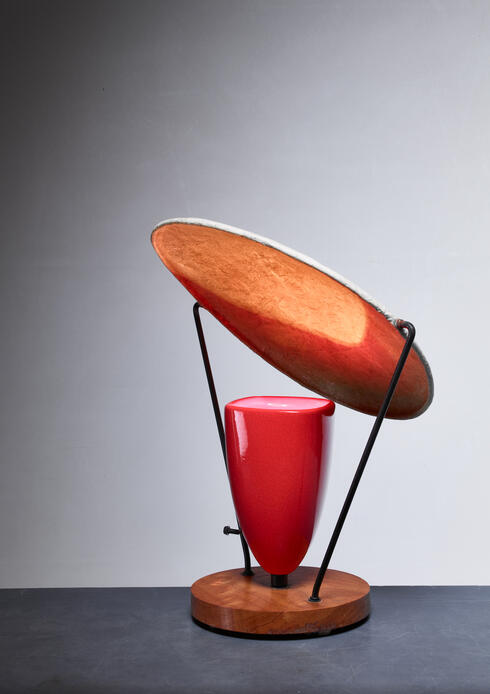 Bloomberry - Mitchell Bobrick Red Ceramic Table Lamp with Epoxy Shade, USA, 1950s