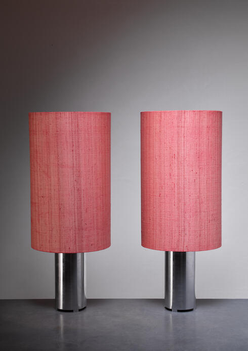 Bloomberry - Pair 1960s Brushed Aluminum Table Or Console Lamps With Fabric Shades