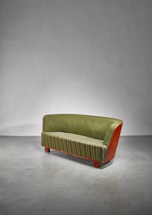 Bloomberry - Søren Willadsen walnut and fabric sofa, Denmark 1940s