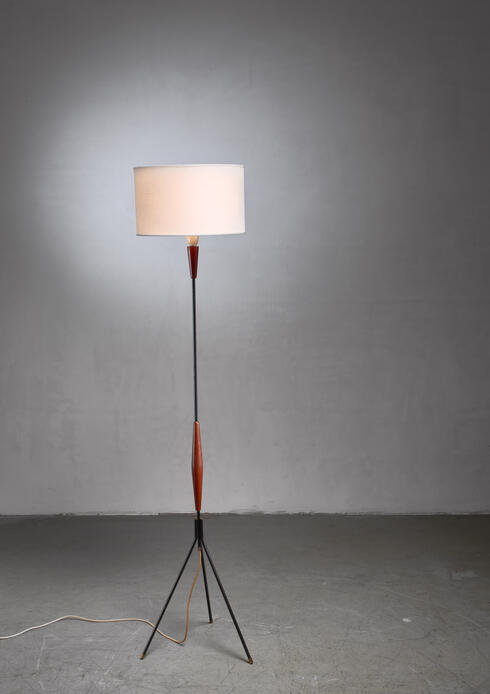 Bloomberry - Scandinavian Modern metal and teak tripod floor lamp