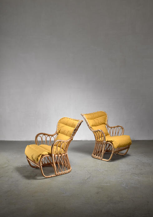Bloomberry - Tove & Edvard Kindt-Larsen pair of bamboo chairs, 1940s
