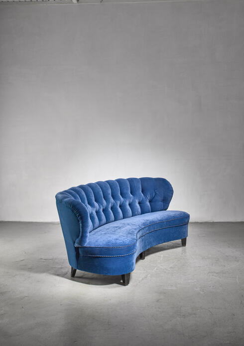 Bloomberry - Curved sofa by Otto Schulz in royal blue velvet, 1940s