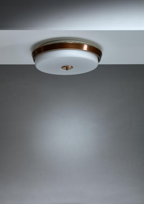 Bloomberry - Brass and opaline glass flush mount