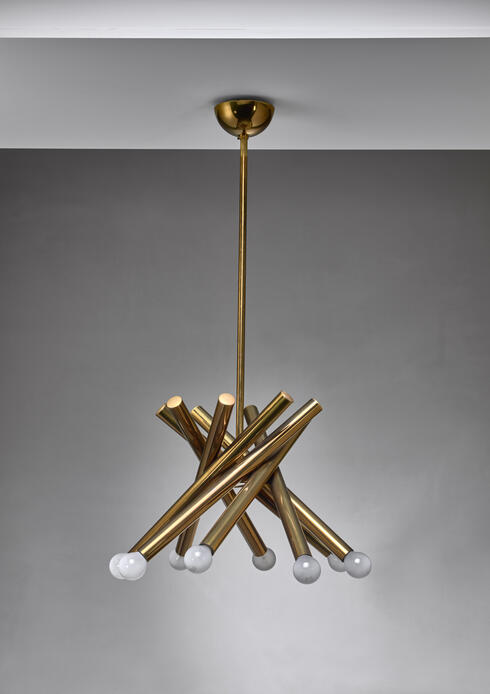 Bloomberry - Stilnovo brass chandelier with 8 arms, Italy