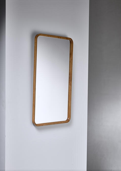 Bloomberry - Rectangular birch Art Deco mirror