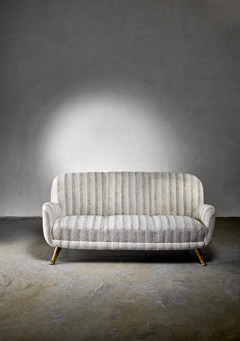 Bloomberry - Rare Berga Sofa with Sculptural Feet, Sweden, 1940s