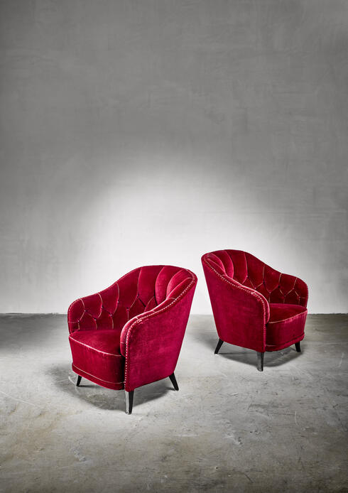 Bloomberry - Pair of Swedish Burgundy red velvet Art Deco easy chairs