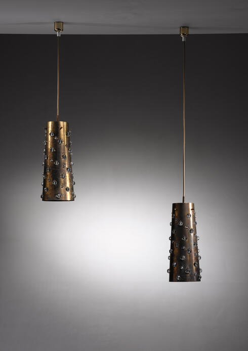 Bloomberry - Pair of Kalmar copper and crystal pendants