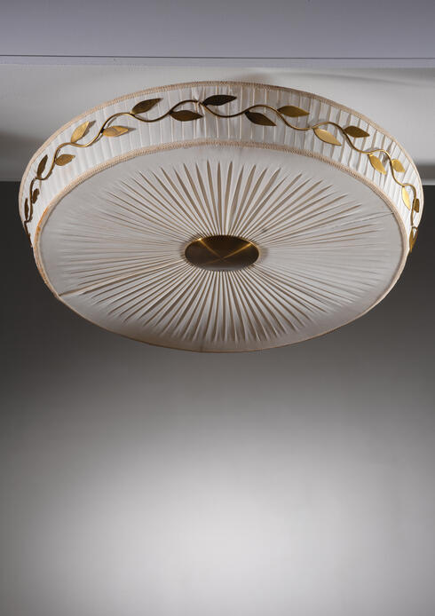 Bloomberry - Hans Bergstrom fabric and brass ceiling lamp