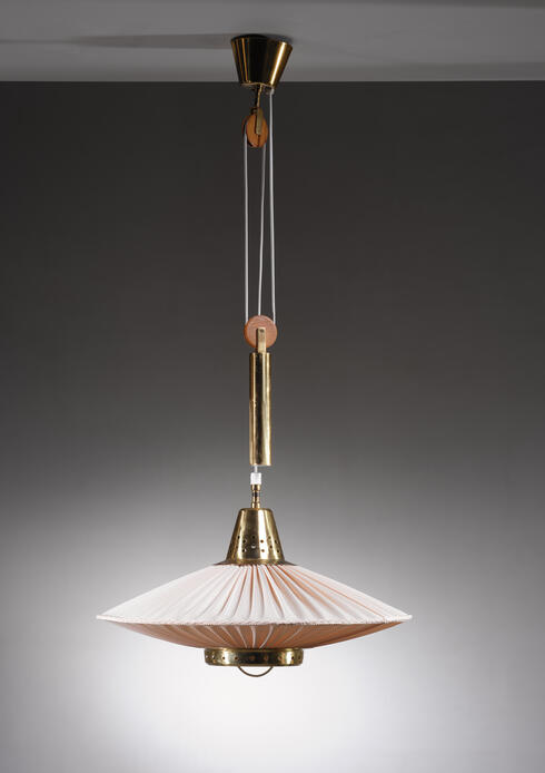 Bloomberry - Hans Bergstrom height-adjustable brass and fabric pendant for Bergboms