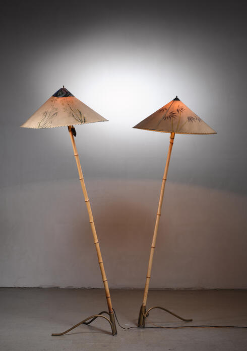 Bloomberry - Rupert Nikoll pair of bamboo floor lamps