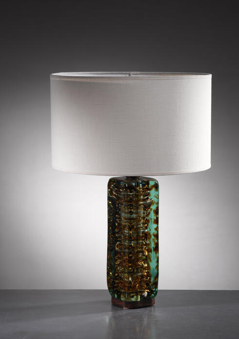 Bloomberry - Heavy glass based Italian table or console lamp