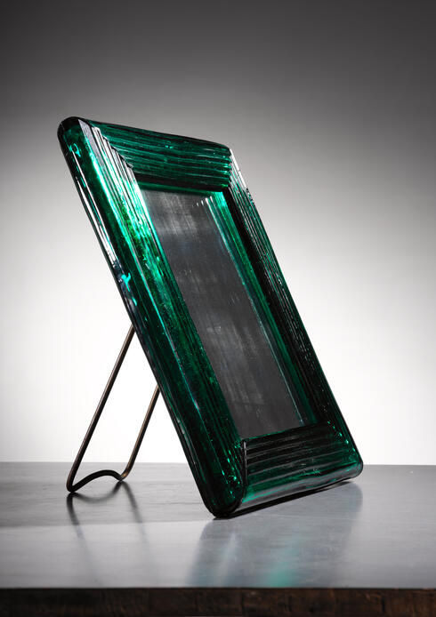 Bloomberry - Venini Murano green glass table mirror, 1930s