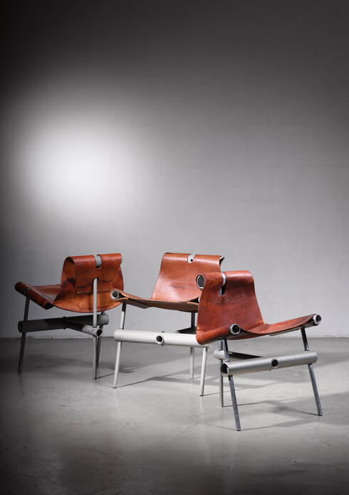 Bloomberry - Max Gottschalk set of 3 prototype leather sling chairs