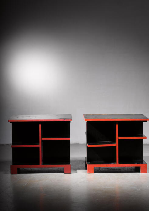 Bloomberry - Pair of Art Deco black and red side tables