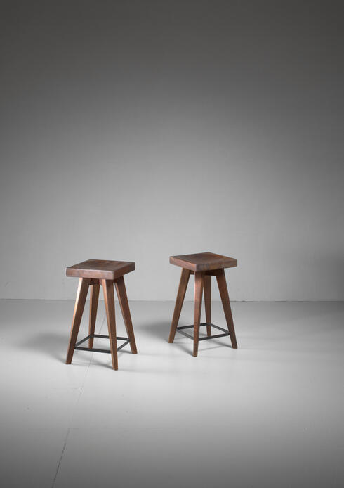 Bloomberry - Pair of Christian Durupt stools from Meribel, France, 1950s
