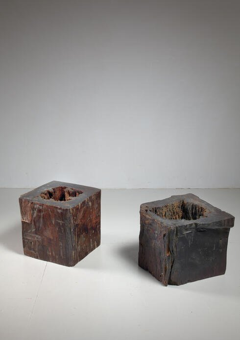 Bloomberry - Pair of wooden craft stools from Brazil, 19th century