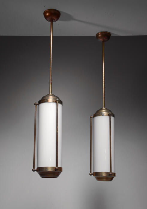 Bloomberry - Pair of large brass pendant lamps, Germany, 1930s