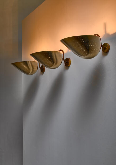 Bloomberry - Series of three Carl-Axel Acking Pair of Brass Wall Sconces, Sweden, circa 1940