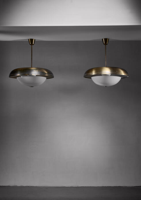 Bloomberry - Pair of Harald Notini brass and glass pendants for Bohlmarks