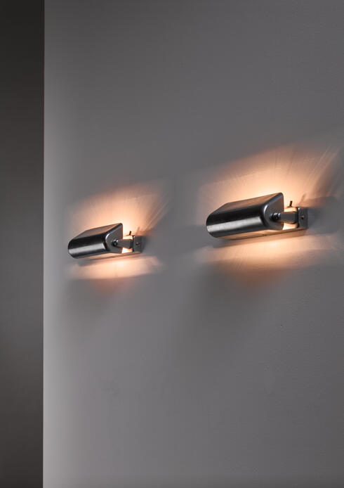 Bloomberry - Modernist nickel adjustable wall lamps by Lyfa