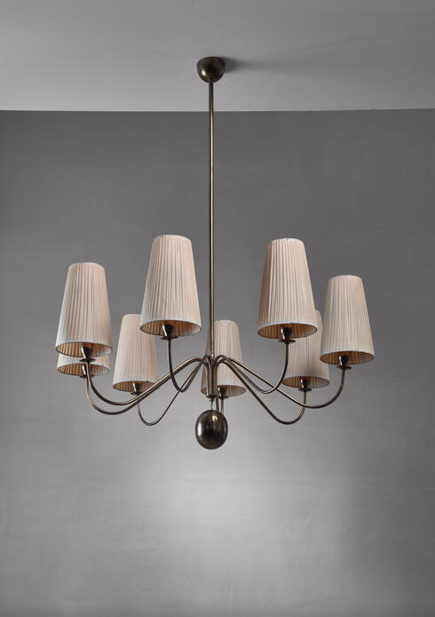 Bloomberry - Early 8 armed chandelier by J.T. Kalmar