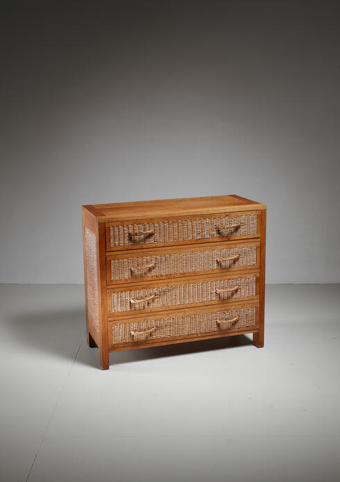 Bloomberry - Jean Touret oak and wicker commode for Marolles, France, 1950s