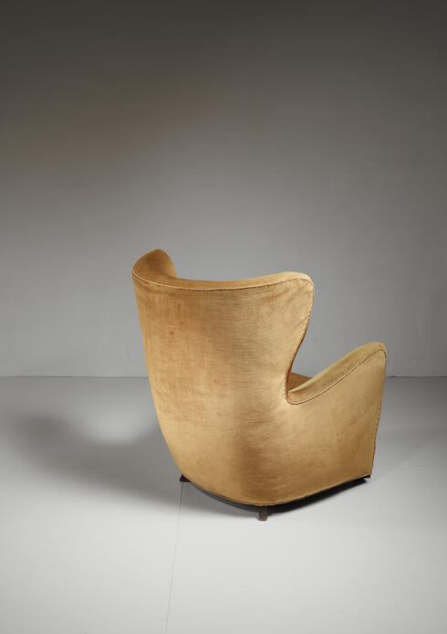 Bloomberry - Mogens Lassen style lounge chair with velour upholstery, Denmark, 1940s