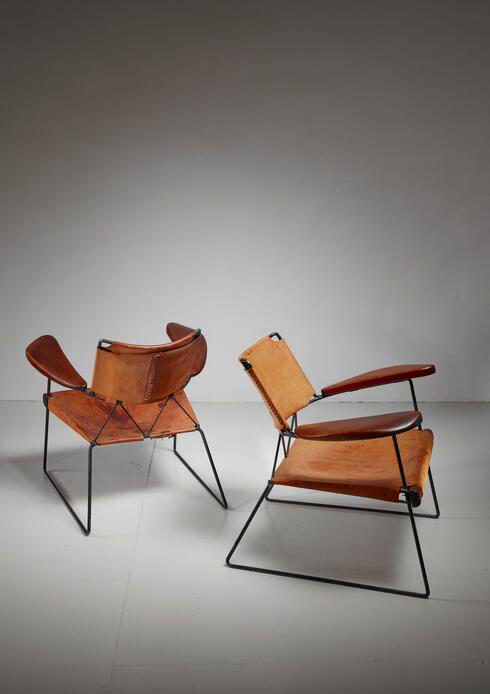 Bloomberry - Pair of Sam Resnick Chairs with Heavy Saddle Leather, American, 19650s