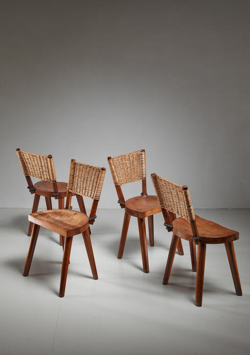 Bloomberry - Jean Touret Set of Four Oak and Cane Dining Chairs for Marolles, France, 1950s