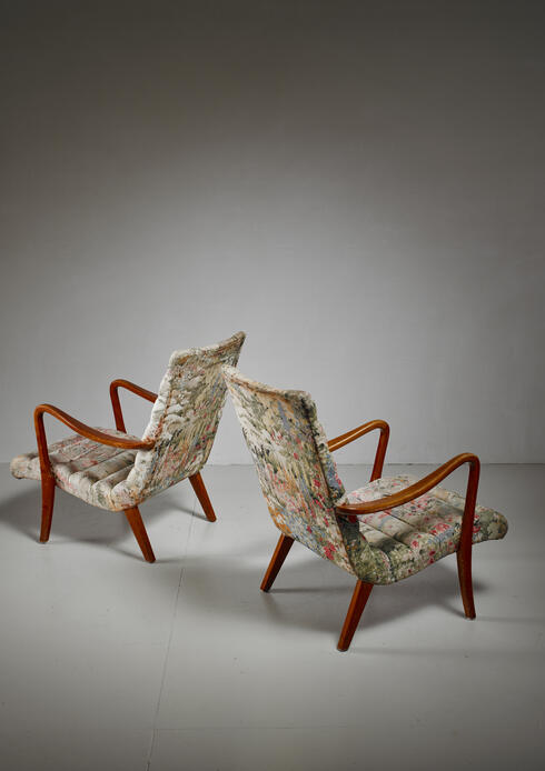 Bloomberry - Pair of Axel Larsson Lounge Chairs, Bodafors, Sweden, 1940s