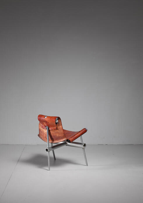 Bloomberry - Max Gottschalk prototype leather sling chair, USA, 1960s
