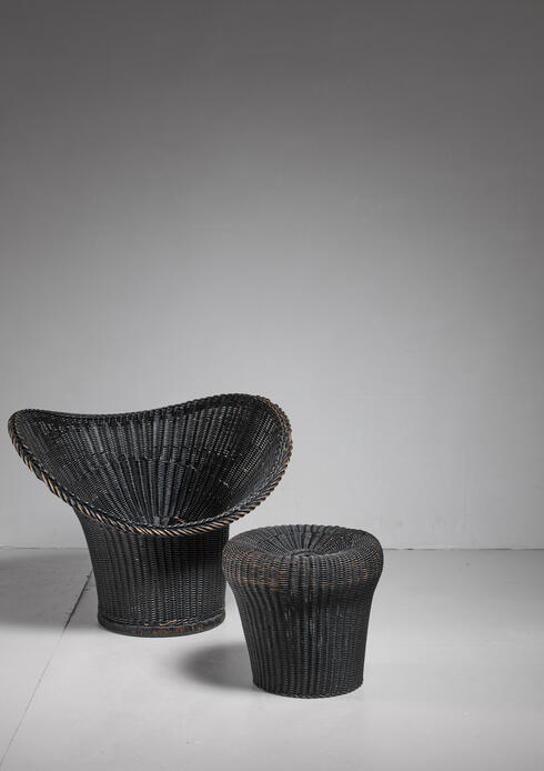 Bloomberry - Egon Eiermann Korbsessel Chair and stool, Germany, 1958