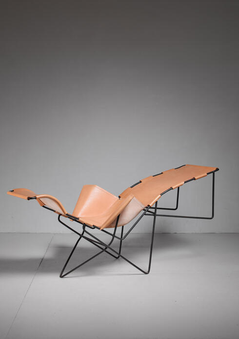 Bloomberry - Iron and leather chaise longue, USA, 1950s