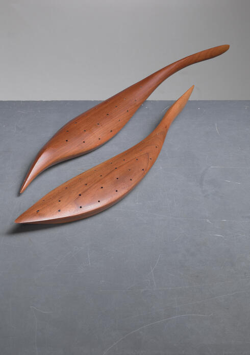 Bloomberry - Emil Milan pair of carved walnut hors d'oeuvres servers, USA, 1960s