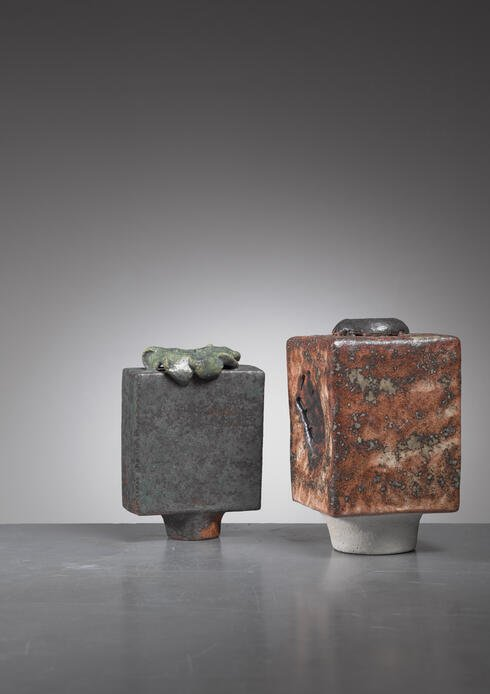 Bloomberry - Lotte Reimers pair of ceramic vases, Germany, 1970s