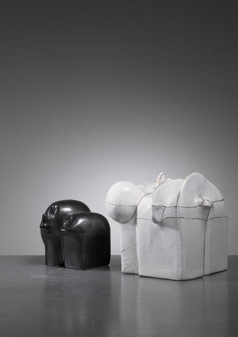 Bloomberry - Antje Schimpfle pair of sculptural ceramic vases, Germany, 1980s