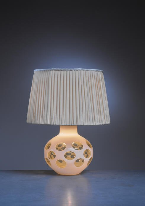 Bloomberry - Carlo Nason glass table lamp for Mazzega in pale yellow, Italy, 1970s