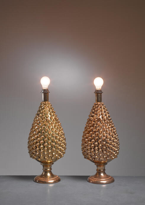 Bloomberry - Mangani pair of painted glass table lamps, Italy, 1960s